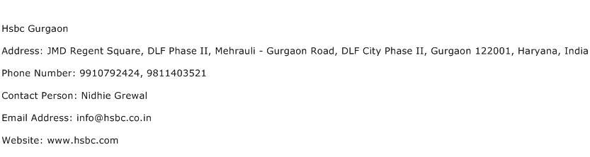Hsbc Gurgaon Address Contact Number