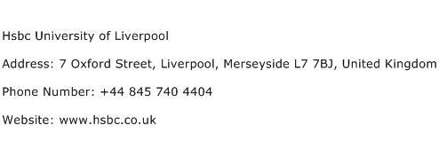 Hsbc University of Liverpool Address Contact Number