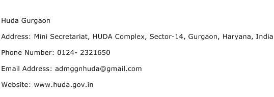 Huda Gurgaon Address Contact Number