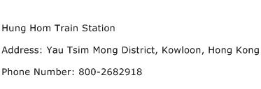 Hung Hom Train Station Address Contact Number