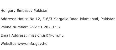 Hungary Embassy Pakistan Address Contact Number
