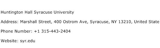 Huntington Hall Syracuse University Address Contact Number