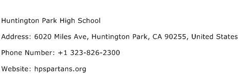 Huntington Park High School Address Contact Number