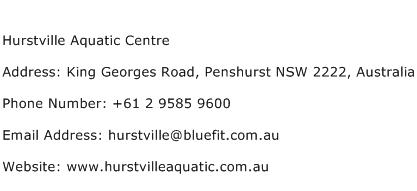 Hurstville Aquatic Centre Address Contact Number