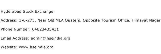 Hyderabad Stock Exchange Address Contact Number