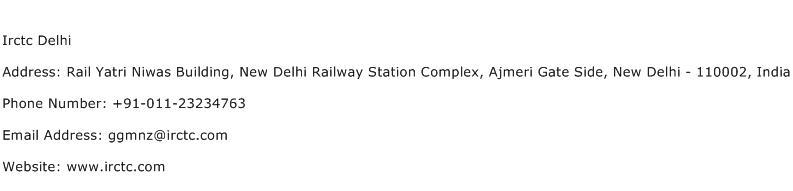 IRCTC Delhi Address Contact Number
