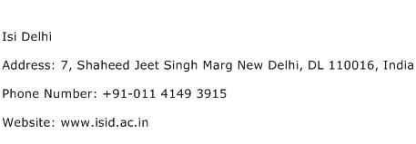ISI Delhi Address Contact Number
