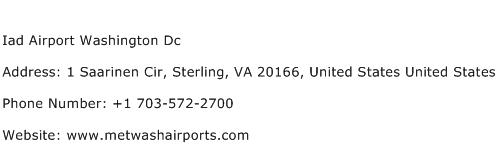 Iad Airport Washington Dc Address Contact Number