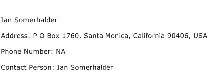 Ian Somerhalder Address Contact Number