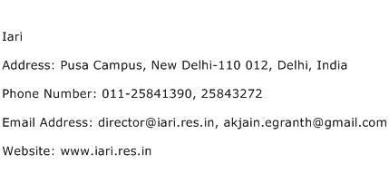 Iari Address Contact Number