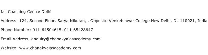 Ias Coaching Centre Delhi Address Contact Number