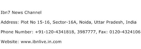 Ibn7 News Channel Address Contact Number