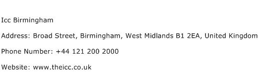 Icc Birmingham Address Contact Number