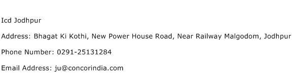 Icd Jodhpur Address Contact Number