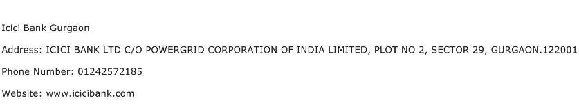 Icici Bank Gurgaon Address Contact Number