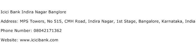 Icici Bank Indira Nagar Banglore Address Contact Number