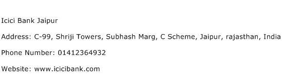 Icici Bank Jaipur Address Contact Number
