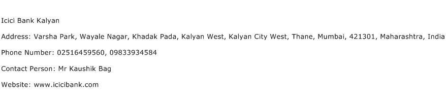 Icici Bank Kalyan Address Contact Number