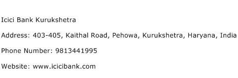Icici Bank Kurukshetra Address Contact Number