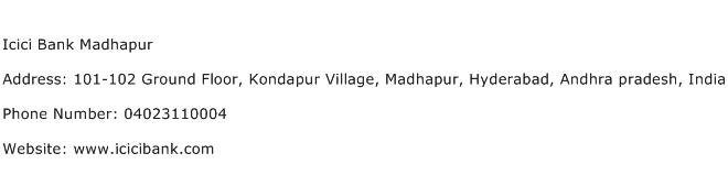 Icici Bank Madhapur Address Contact Number