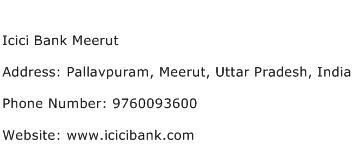 Icici Bank Meerut Address Contact Number