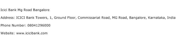 Icici Bank Mg Road Bangalore Address Contact Number