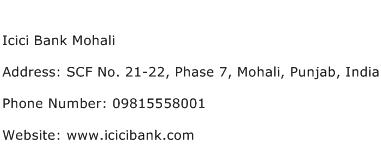 Icici Bank Mohali Address Contact Number