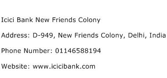 Icici Bank New Friends Colony Address Contact Number
