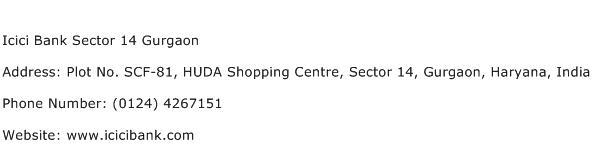 Icici Bank Sector 14 Gurgaon Address Contact Number