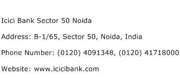 Icici Bank Sector 50 Noida Address Contact Number