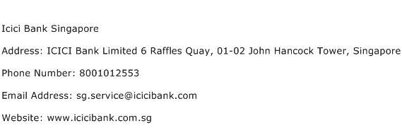 Icici Bank Singapore Address Contact Number