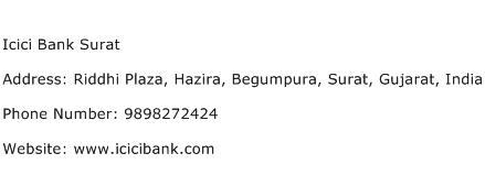 Icici Bank Surat Address Contact Number