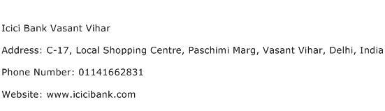 Icici Bank Vasant Vihar Address Contact Number