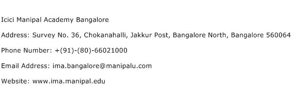 Icici Manipal Academy Bangalore Address Contact Number