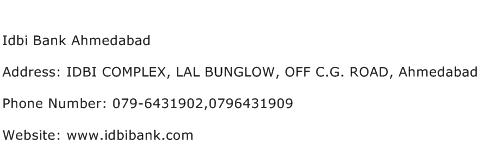 Idbi Bank Ahmedabad Address Contact Number