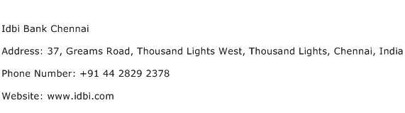 Idbi Bank Chennai Address Contact Number