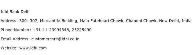 Idbi Bank Delhi Address Contact Number