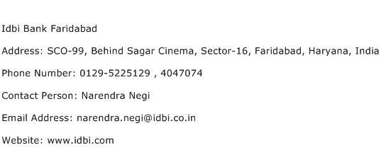 Idbi Bank Faridabad Address Contact Number