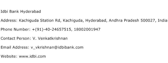 Idbi Bank Hyderabad Address Contact Number