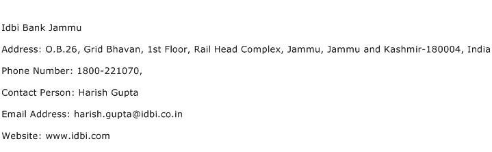 Idbi Bank Jammu Address Contact Number