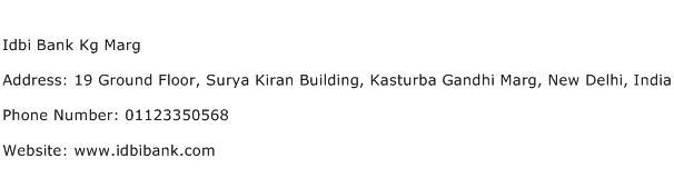 Idbi Bank Kg Marg Address Contact Number