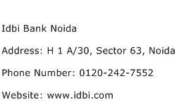 Idbi Bank Noida Address Contact Number