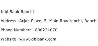 Idbi Bank Ranchi Address Contact Number