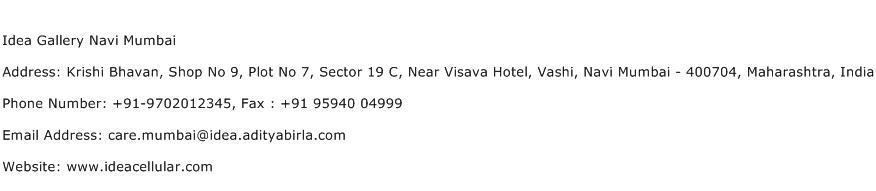 Idea Gallery Navi Mumbai Address Contact Number