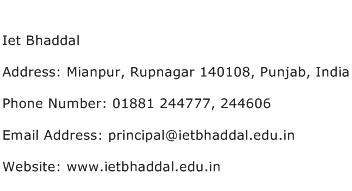 Iet Bhaddal Address Contact Number