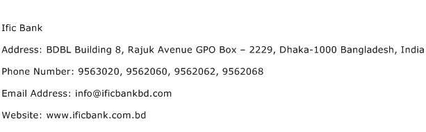 Ific Bank Address Contact Number