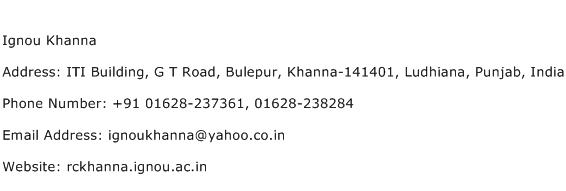 Ignou Khanna Address Contact Number