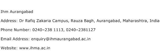 Ihm Aurangabad Address Contact Number
