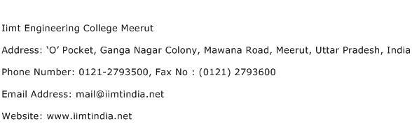 Iimt Engineering College Meerut Address Contact Number