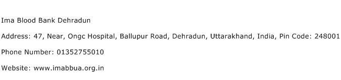 Ima Blood Bank Dehradun Address Contact Number